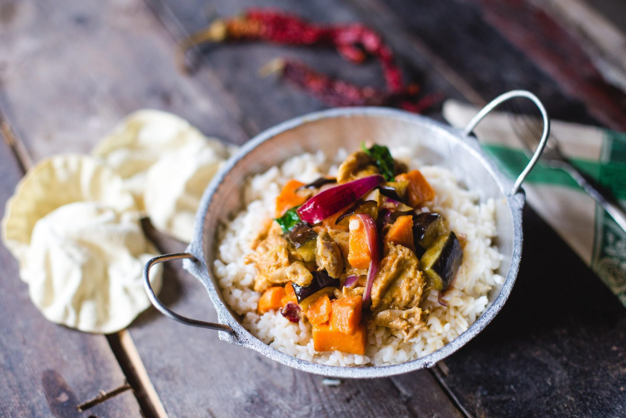 Eggplant and Sweet Potato Curry with Chicken