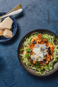 Chicken and eggplant zoodles slendier