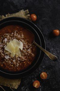 Wild rice style tomato lentil soup slendier